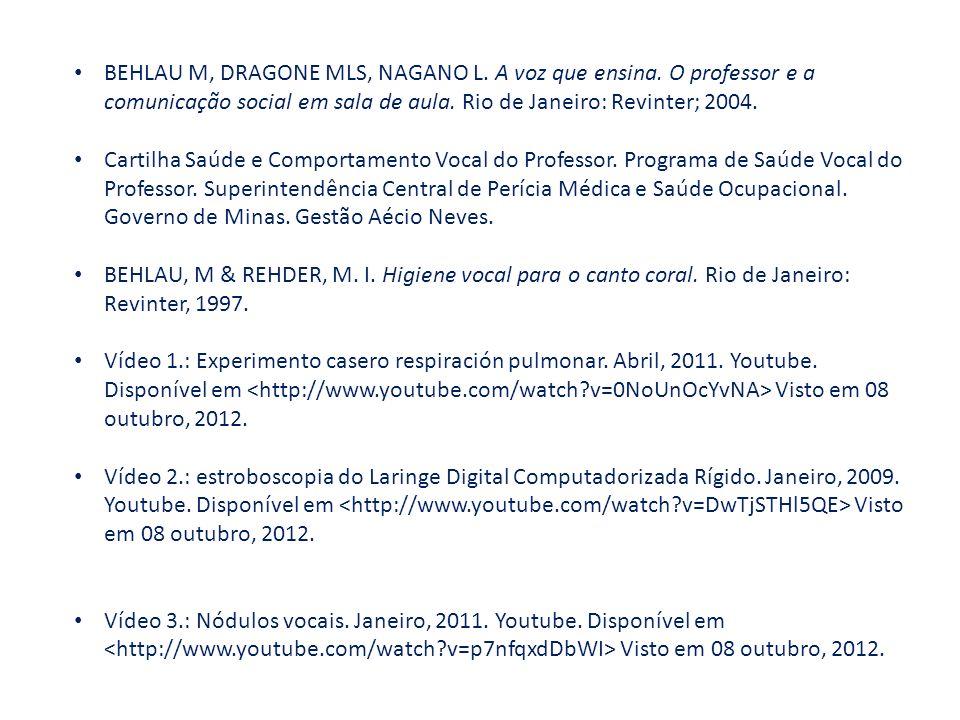 BEHLAU M, DRAGONE MLS, NAGANO L. A voz que ensina. O professor e a comunicação social em sala de aula. Rio de Janeiro: Revinter; 2004. Cartilha Saúde