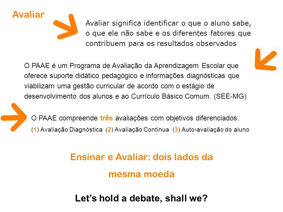 O PAAE compreende três avaliações com objetivos diferenciados. (1) Avaliação Diagnóstica (2) Avaliação Contínua (3) Auto-avaliação do aluno Ensinar e