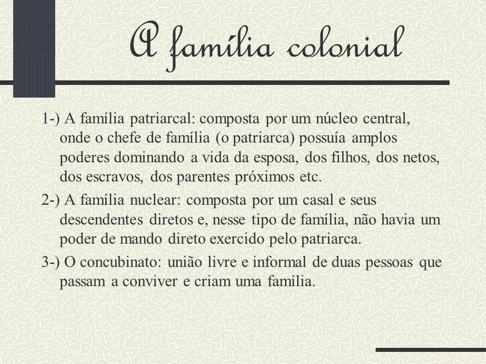 A família colonial 1-) A família patriarcal: composta por um núcleo central, onde o chefe de família (o patriarca) possuía amplos poderes dominando a vida da esposa, dos filhos, dos netos, dos escravos, dos parentes próximos etc.