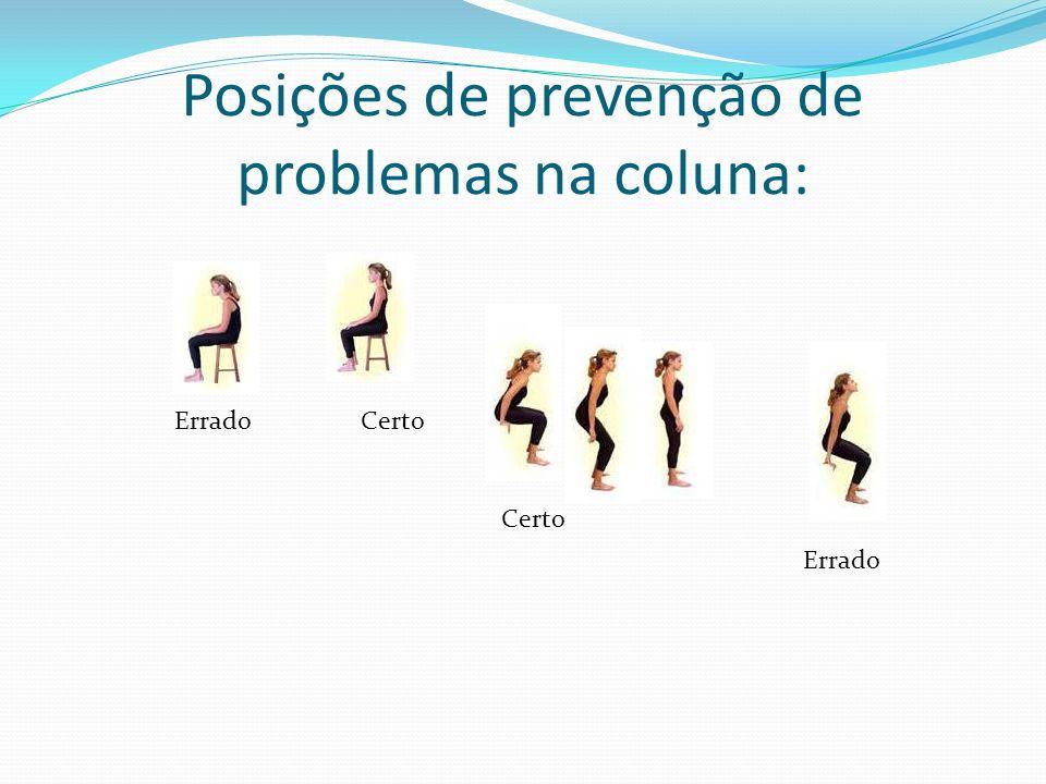Posições de prevenção de problemas na coluna: Errado Certo Certo Errado