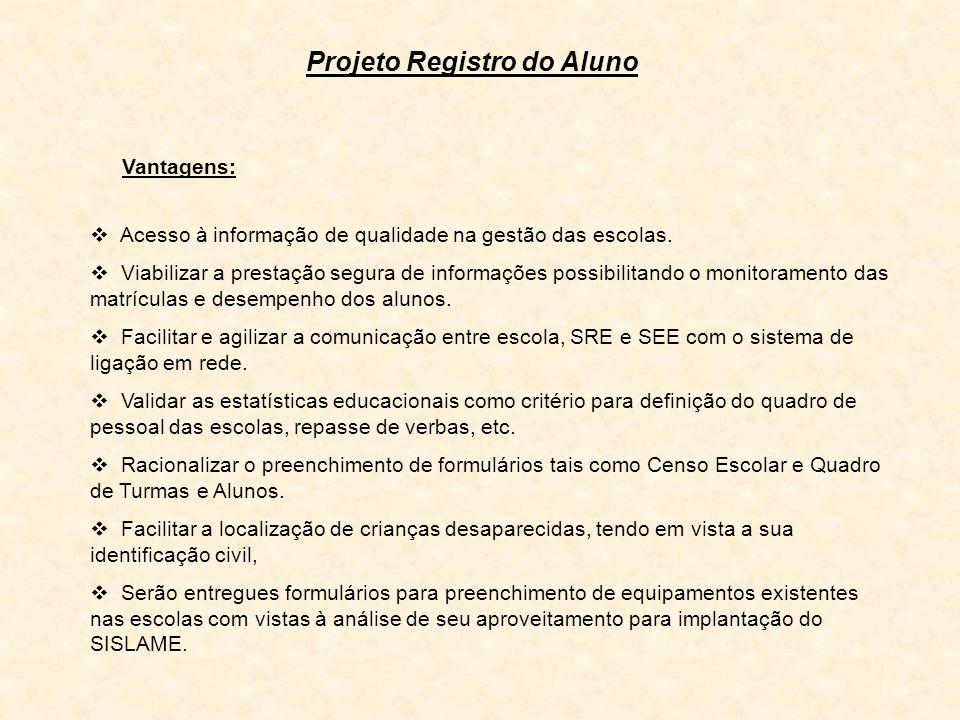 Projeto Registro do Aluno Vantagens: Acesso à informação de qualidade na gestão das escolas. Viabilizar a prestação segura de informações possibilitan