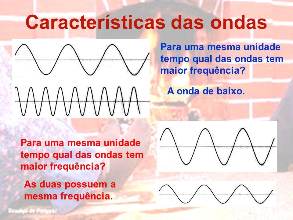 Características das ondas Para uma mesma unidade tempo qual das ondas tem maior frequência? As duas possuem a mesma frequência. A onda de baixo. Para