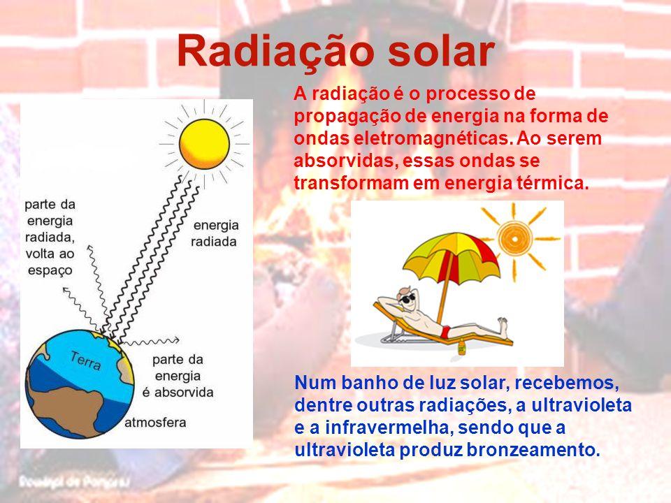 Radiação solar Num banho de luz solar, recebemos, dentre outras radiações, a ultravioleta e a infravermelha, sendo que a ultravioleta produz bronzeame