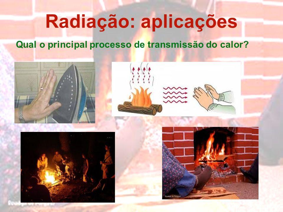 Radiação: aplicações Qual o principal processo de transmissão do calor?