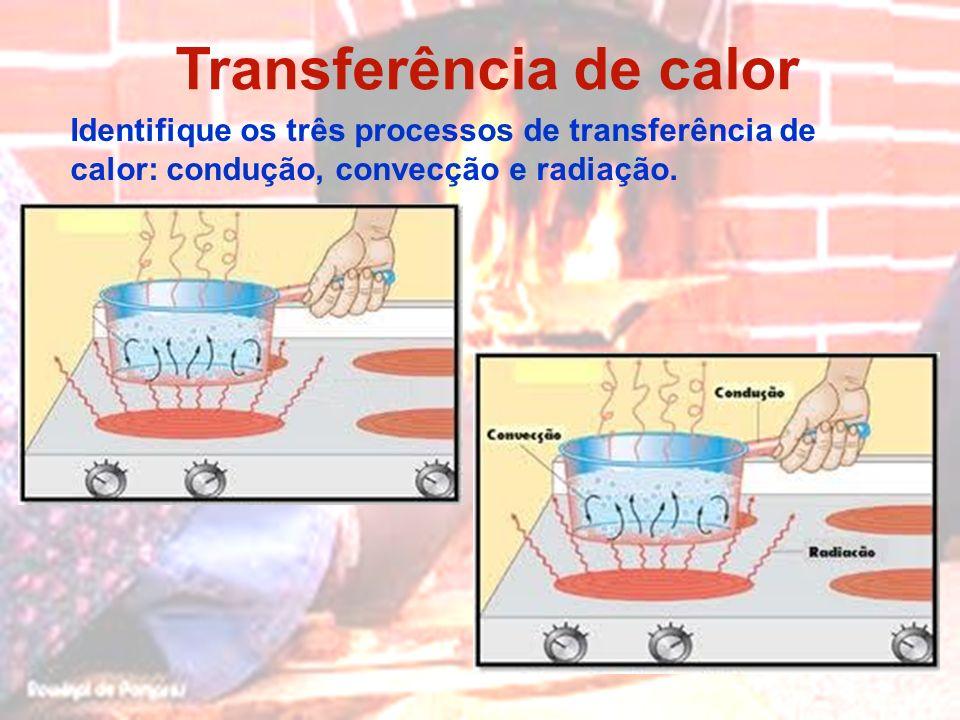 Transferência de calor Identifique os três processos de transferência de calor: condução, convecção e radiação.