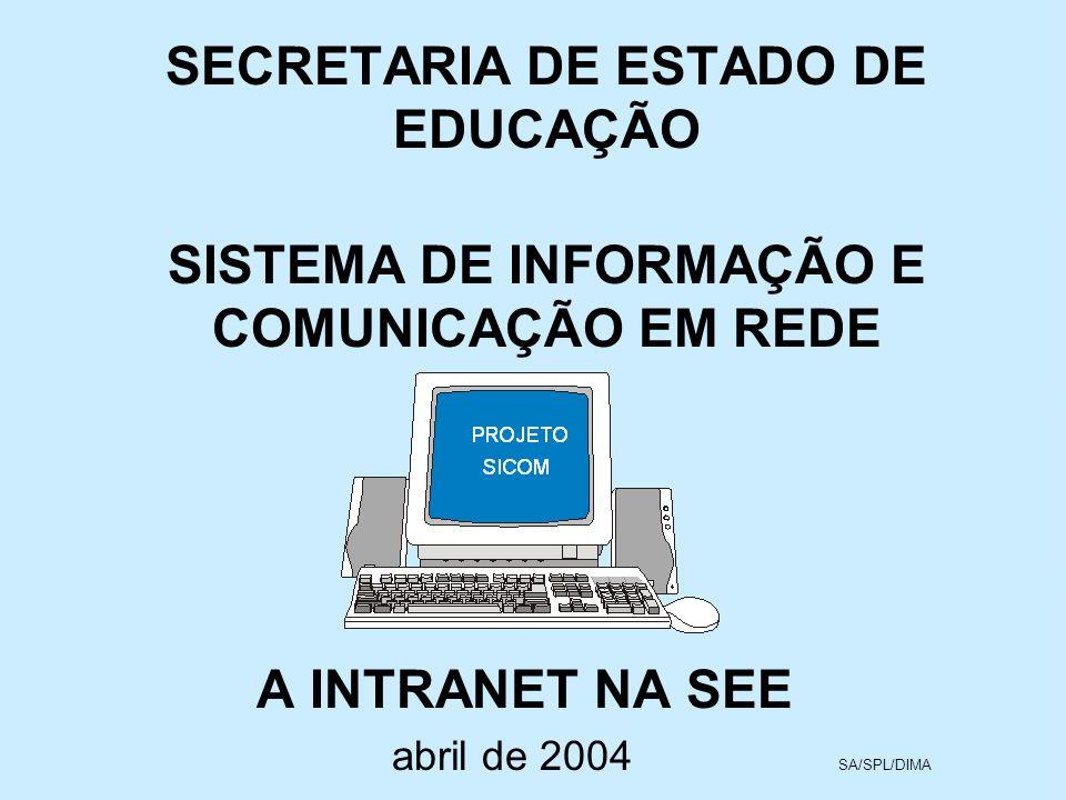 SECRETARIA DE ESTADO DE EDUCAÇÃO SISTEMA DE INFORMAÇÃO E COMUNICAÇÃO EM REDE A INTRANET NA SEE abril de 2004 SA/SPL/DIMA