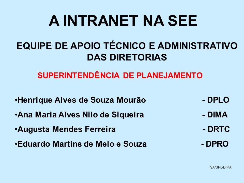 A INTRANET NA SEE EQUIPE DE APOIO TÉCNICO E ADMINISTRATIVO DAS DIRETORIAS SUPERINTENDÊNCIA DE PLANEJAMENTO Henrique Alves de Souza Mourão - DPLO Ana M