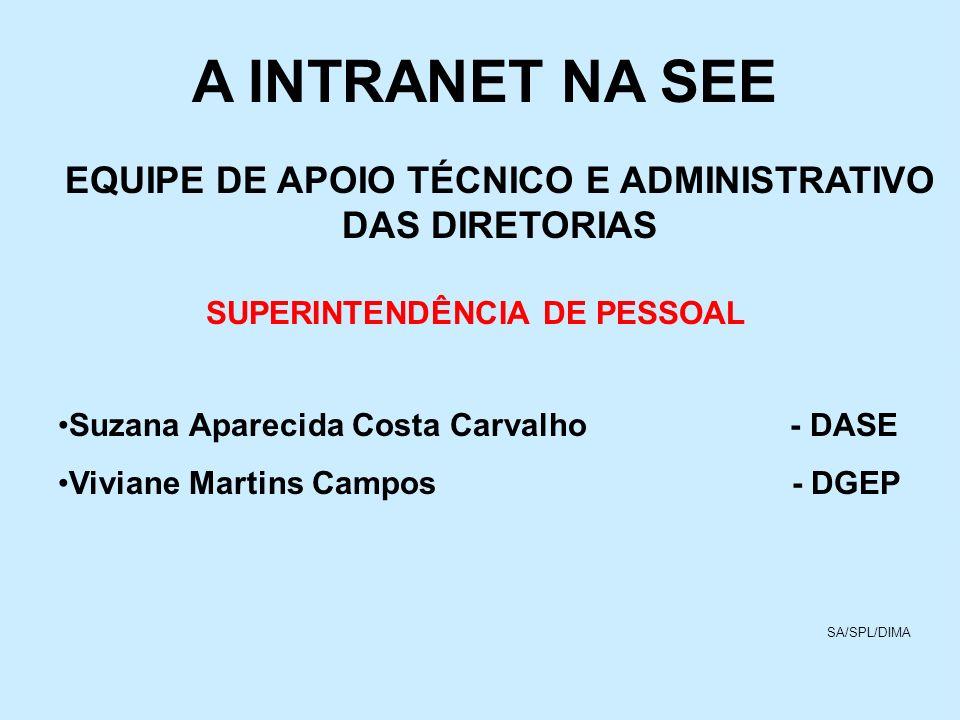 A INTRANET NA SEE EQUIPE DE APOIO TÉCNICO E ADMINISTRATIVO DAS DIRETORIAS SUPERINTENDÊNCIA DE PESSOAL Suzana Aparecida Costa Carvalho - DASE Viviane M