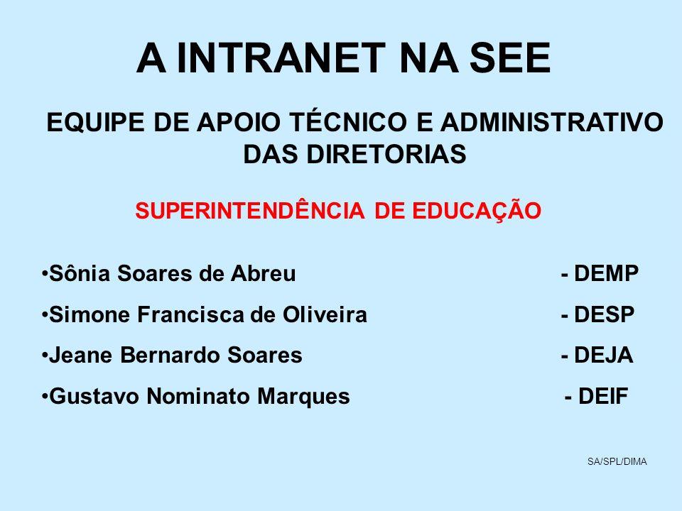 A INTRANET NA SEE EQUIPE DE APOIO TÉCNICO E ADMINISTRATIVO DAS DIRETORIAS SUPERINTENDÊNCIA DE EDUCAÇÃO Sônia Soares de Abreu - DEMP Simone Francisca d