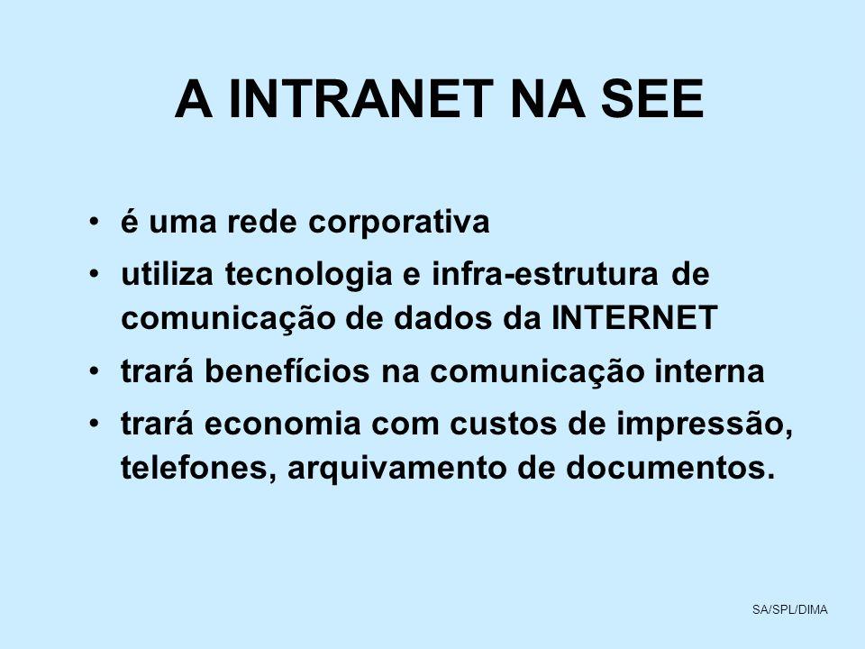 A INTRANET NA SEE é uma rede corporativa utiliza tecnologia e infra-estrutura de comunicação de dados da INTERNET trará benefícios na comunicação inte
