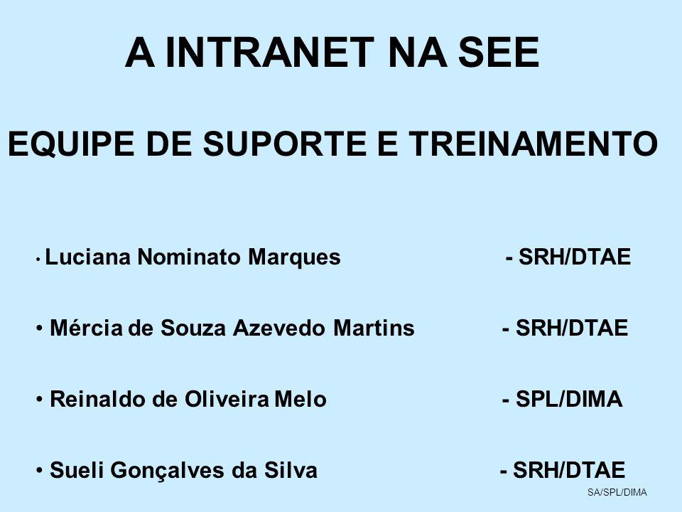 A INTRANET NA SEE EQUIPE DE APOIO TÉCNICO E ADMINISTRATIVO DAS SUPERINTENDÊNCIAS COMPETÊNCIAS DAR SUPORTE TÉCNICO AOS USUÁRIOS DA SUPERINTENDÊNCIAS E TREINAMENTO AS SUAS RESPECTIVAS DIRETORIAS NO USO DA INTRANET COMPOSTA DE 17 MEMBROS SA/SPL/DIMA