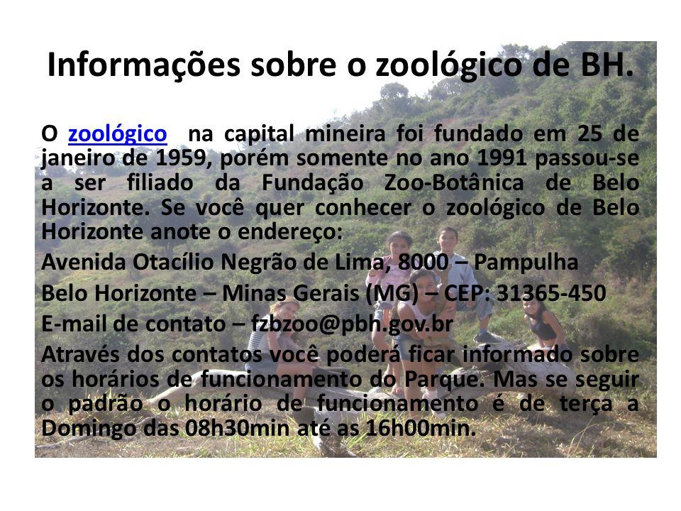 Informações sobre o zoológico de BH. O zoológico na capital mineira foi fundado em 25 de janeiro de 1959, porém somente no ano 1991 passou-se a ser fi