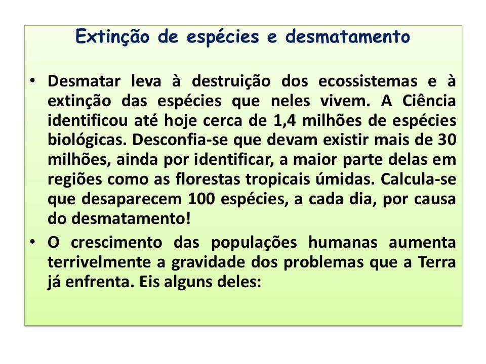 Extinção de espécies e desmatamento Desmatar leva à destruição dos ecossistemas e à extinção das espécies que neles vivem. A Ciência identificou até h