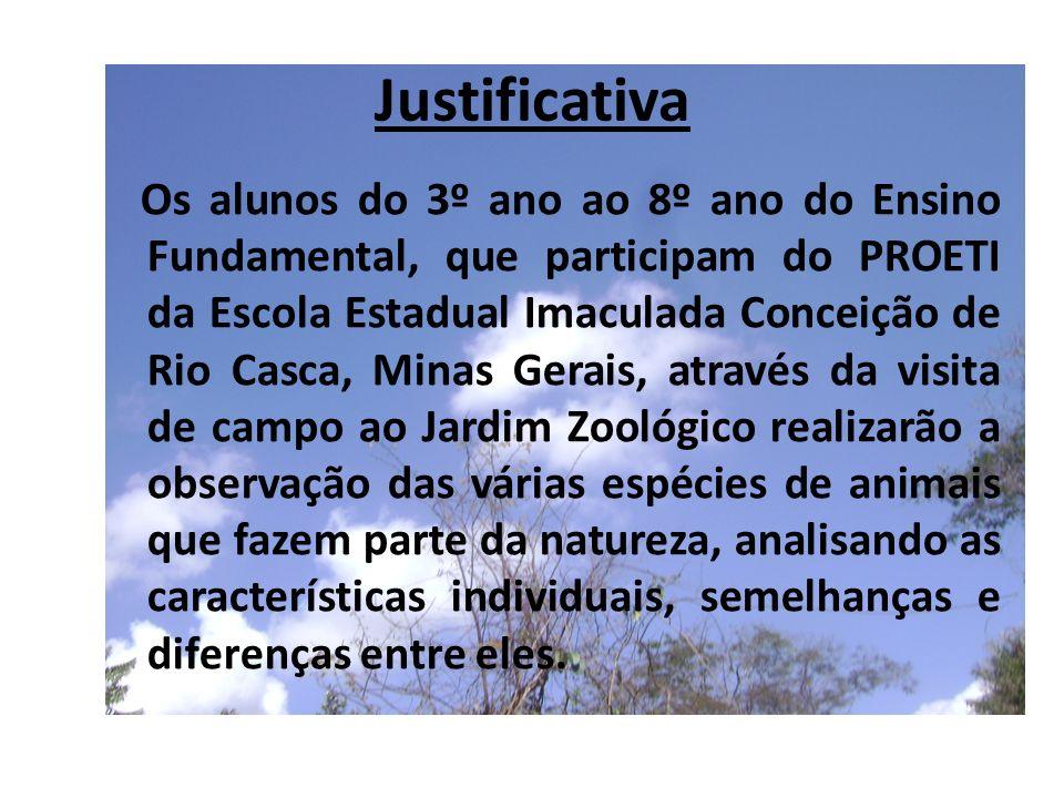Justificativa Os alunos do 3º ano ao 8º ano do Ensino Fundamental, que participam do PROETI da Escola Estadual Imaculada Conceição de Rio Casca, Minas