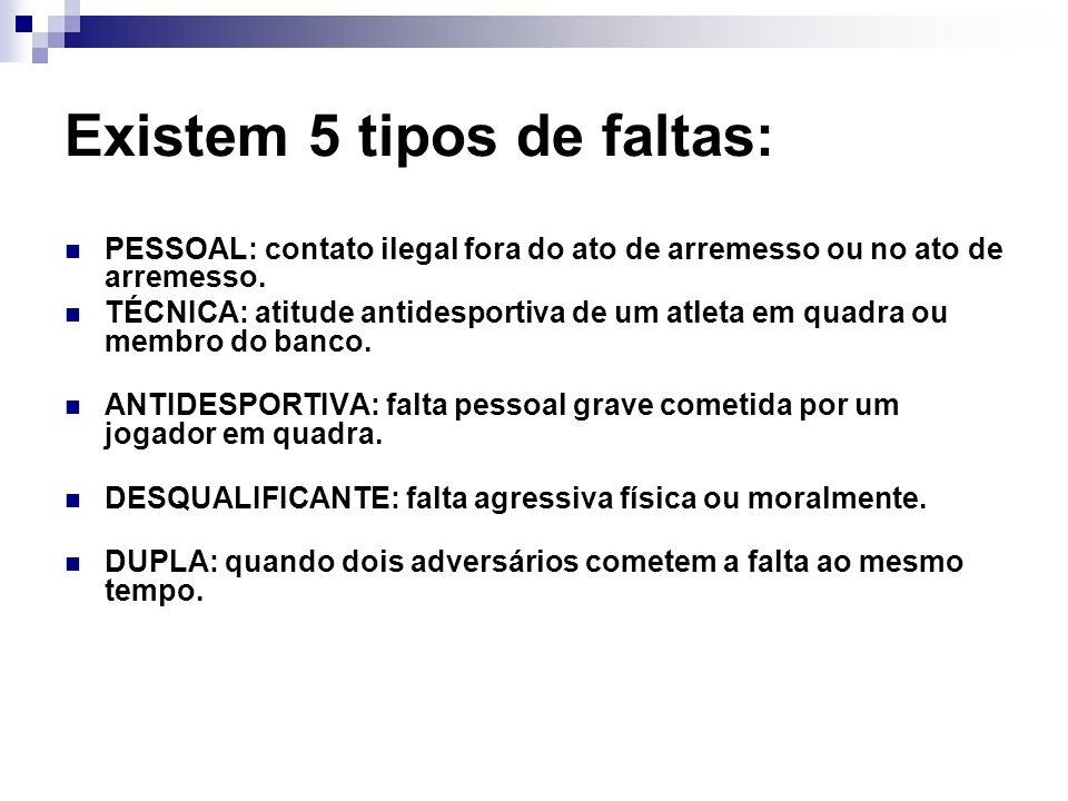 Existem 5 tipos de faltas: PESSOAL: contato ilegal fora do ato de arremesso ou no ato de arremesso.