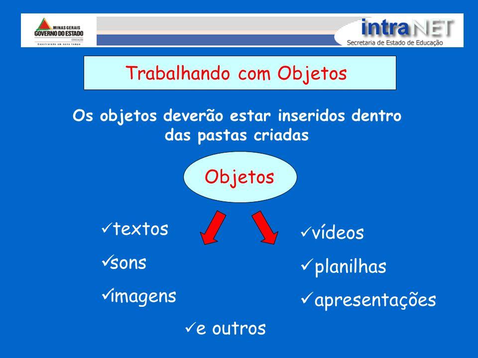 Trabalhando com Objetos Os objetos deverão estar inseridos dentro das pastas criadas Objetos textos sons imagens vídeos planilhas apresentações e outr