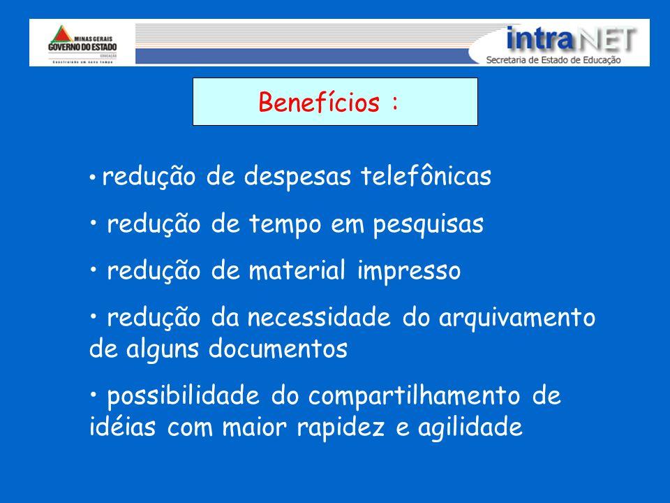 Benefícios : redução de despesas telefônicas redução de tempo em pesquisas redução de material impresso redução da necessidade do arquivamento de algu