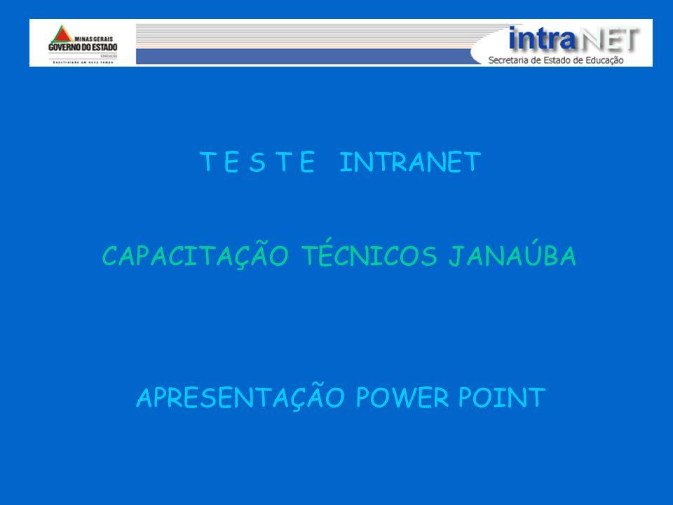 T E S T E INTRANET CAPACITAÇÃO TÉCNICOS JANAÚBA APRESENTAÇÃO POWER POINT