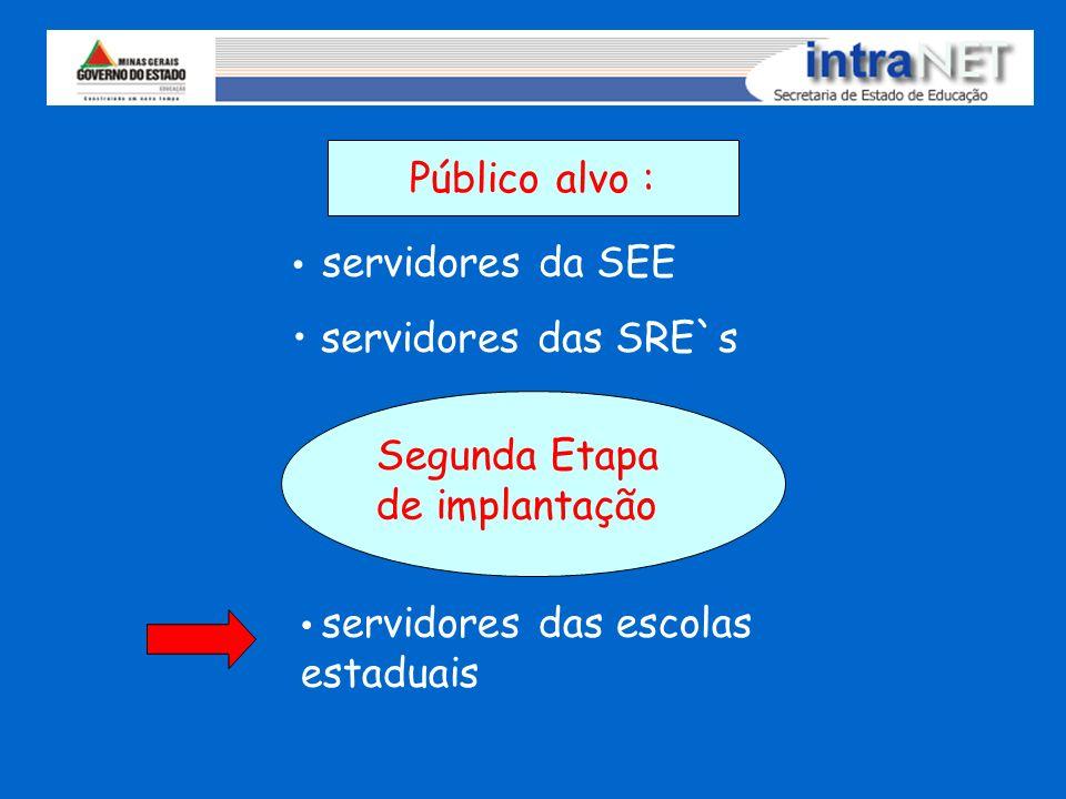 Público alvo : servidores da SEE servidores das SRE`s servidores das escolas estaduais Segunda Etapa de implantação