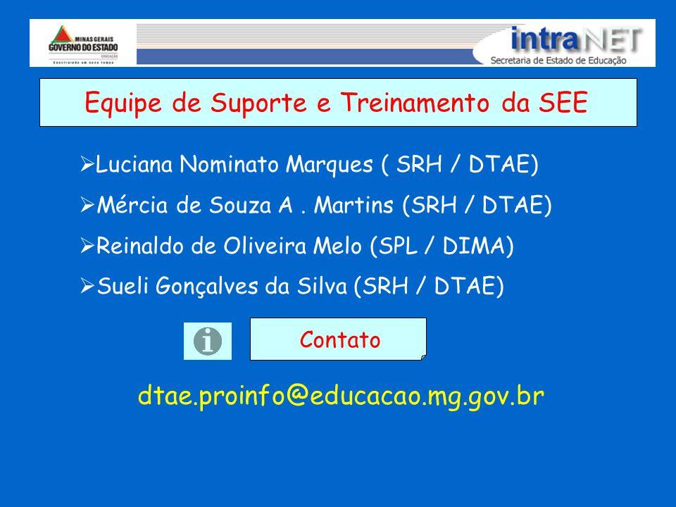 Equipe de Suporte e Treinamento da SEE Luciana Nominato Marques ( SRH / DTAE) Mércia de Souza A. Martins (SRH / DTAE) Reinaldo de Oliveira Melo (SPL /