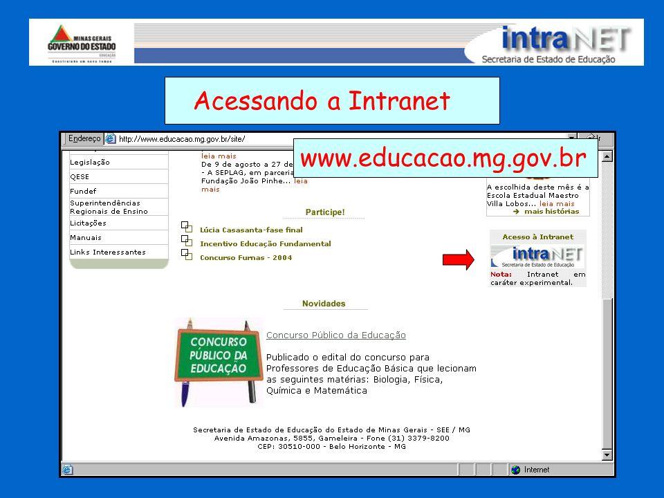 Acessando a Intranet www.educacao.mg.gov.br