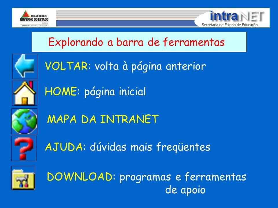 Explorando a barra de ferramentas VOLTAR: volta à página anterior HOME: página inicial MAPA DA INTRANET AJUDA: dúvidas mais freqüentes DOWNLOAD: progr