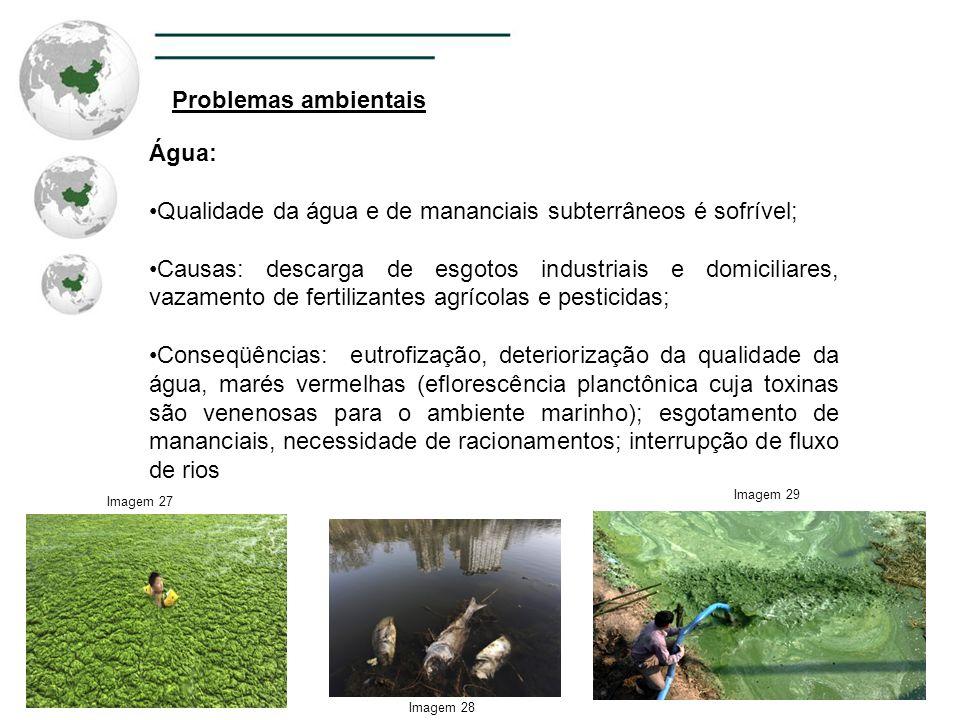 Problemas ambientais Água: Qualidade da água e de mananciais subterrâneos é sofrível; Causas: descarga de esgotos industriais e domiciliares, vazament