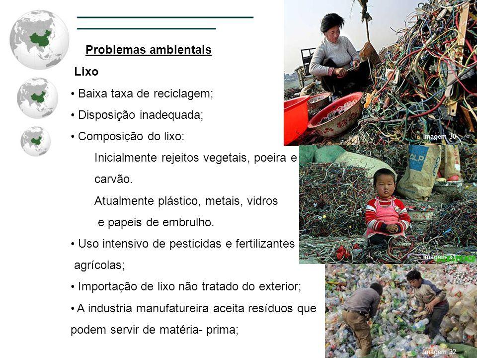 Problemas ambientais Lixo Baixa taxa de reciclagem; Disposição inadequada; Composição do lixo: Inicialmente rejeitos vegetais, poeira e carvão. Atualm