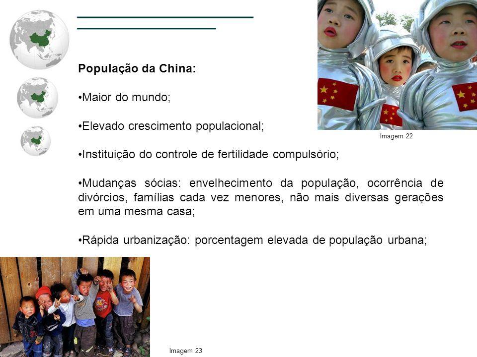 População da China: Maior do mundo; Elevado crescimento populacional; Instituição do controle de fertilidade compulsório; Mudanças sócias: envelhecime