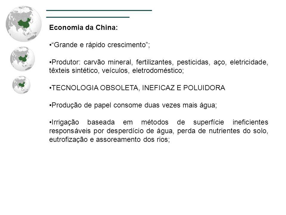 Economia da China: Grande e rápido crescimento; Produtor: carvão mineral, fertilizantes, pesticidas, aço, eletricidade, têxteis sintético, veículos, e