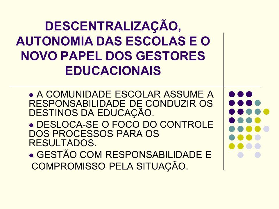 DESCENTRALIZAÇÃO, AUTONOMIA DAS ESCOLAS E O NOVO PAPEL DOS GESTORES EDUCACIONAIS A COMUNIDADE ESCOLAR ASSUME A RESPONSABILIDADE DE CONDUZIR OS DESTINO