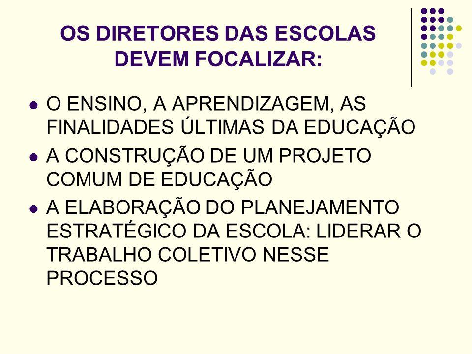 OS DIRETORES DAS ESCOLAS DEVEM FOCALIZAR: O ENSINO, A APRENDIZAGEM, AS FINALIDADES ÚLTIMAS DA EDUCAÇÃO A CONSTRUÇÃO DE UM PROJETO COMUM DE EDUCAÇÃO A