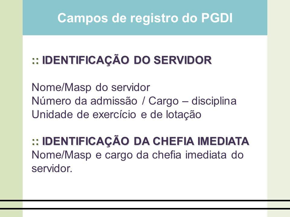 Campos de registro do PGDI :: IDENTIFICAÇÃO DO SERVIDOR Nome/Masp do servidor Número da admissão / Cargo – disciplina Unidade de exercício e de lotaçã