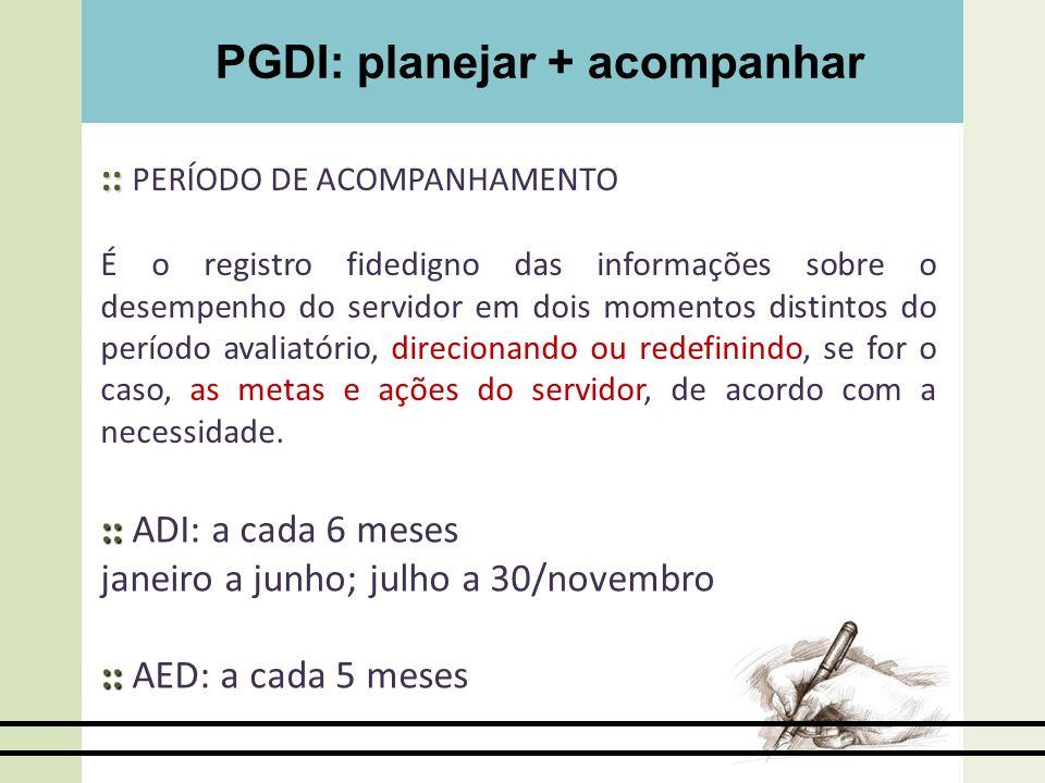 PGDI: planejar + acompanhar :: :: PERÍODO DE ACOMPANHAMENTO É o registro fidedigno das informações sobre o desempenho do servidor em dois momentos dis