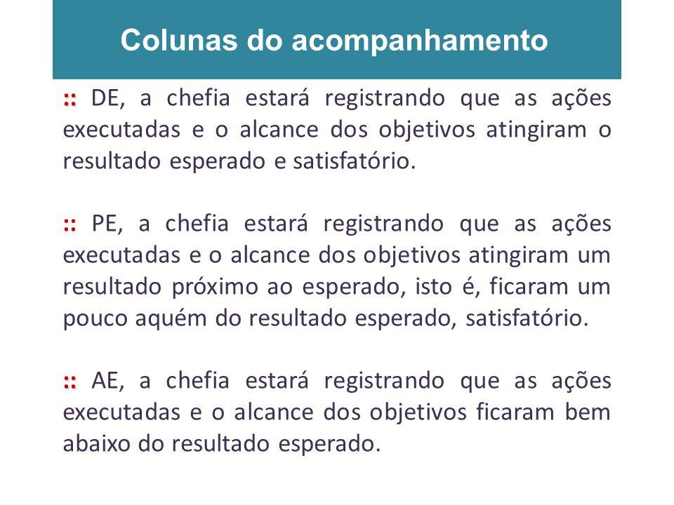 Colunas do acompanhamento :: :: DE, a chefia estará registrando que as ações executadas e o alcance dos objetivos atingiram o resultado esperado e sat