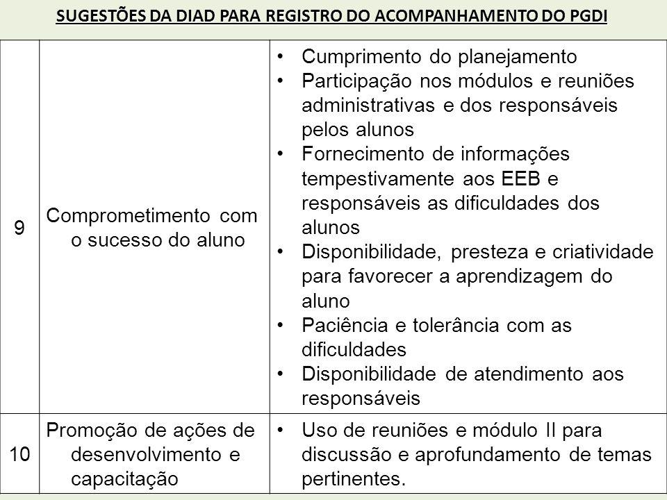 9 Comprometimento com o sucesso do aluno Cumprimento do planejamento Participação nos módulos e reuniões administrativas e dos responsáveis pelos alun