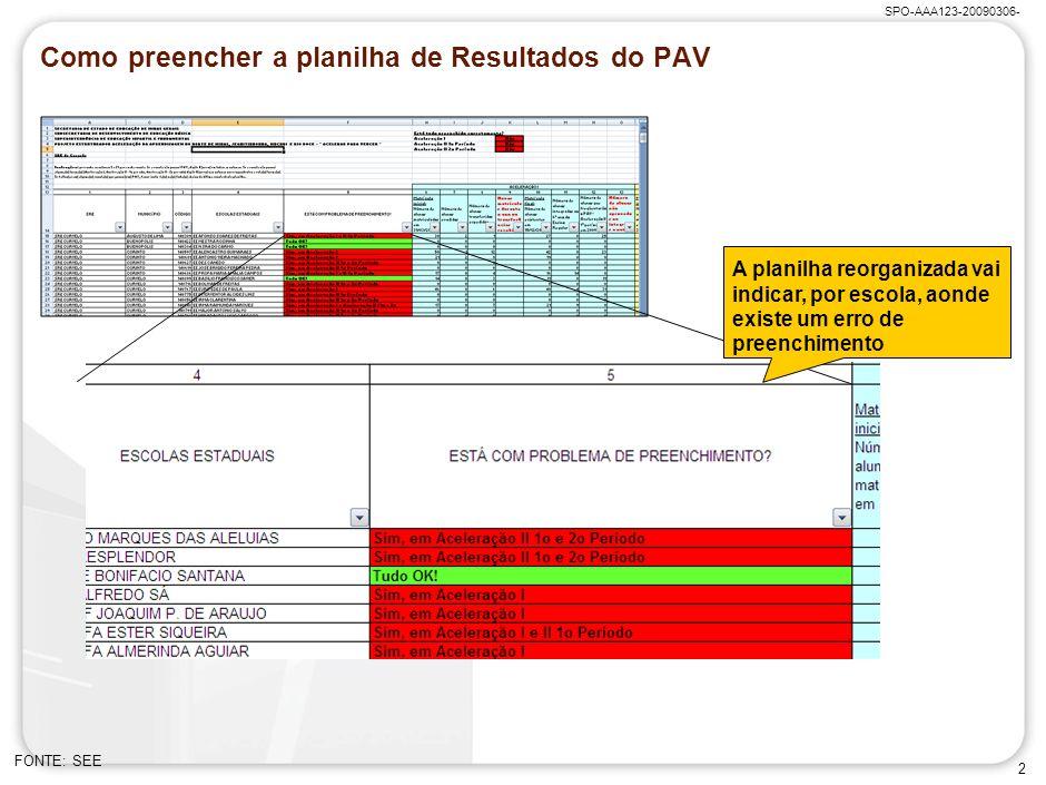 SPO-AAA123-20090306- 2 Como preencher a planilha de Resultados do PAV FONTE: SEE A planilha reorganizada vai indicar, por escola, aonde existe um erro de preenchimento