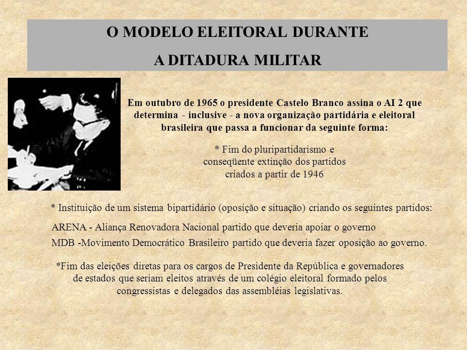 O MODELO ELEITORAL DURANTE A DITADURA MILITAR Em outubro de 1965 o presidente Castelo Branco assina o AI 2 que determina - inclusive - a nova organiza