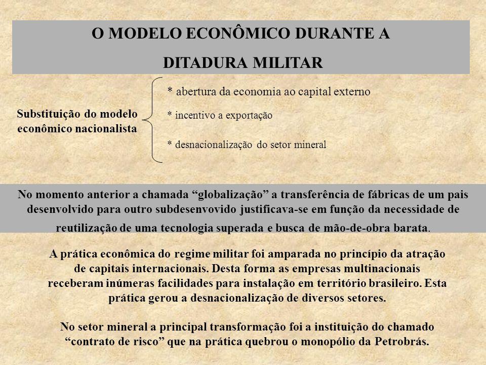 O MODELO ECONÔMICO DURANTE A DITADURA MILITAR Substituição do modelo econômico nacionalista * abertura da economia ao capital externo * incentivo a ex