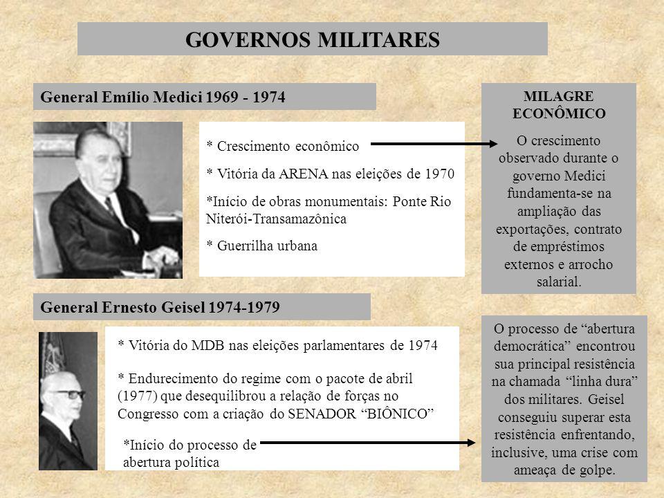 GOVERNOS MILITARES General Emílio Medici 1969 - 1974 * Crescimento econômico * Vitória da ARENA nas eleições de 1970 *Início de obras monumentais: Pon