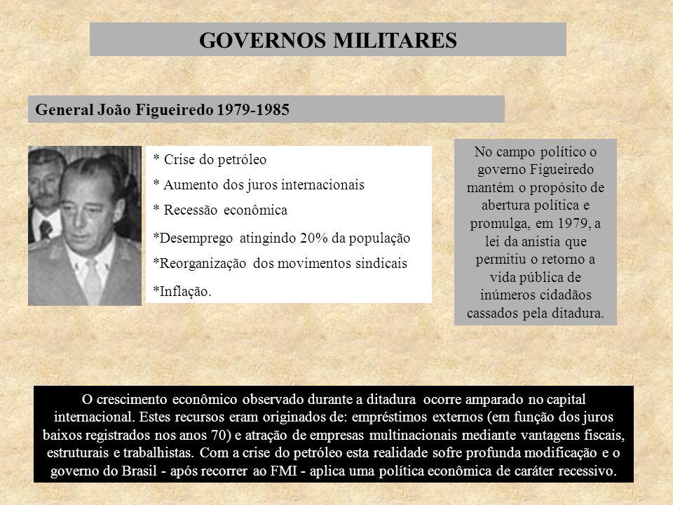 GOVERNOS MILITARES General João Figueiredo 1979-1985 * Crise do petróleo * Aumento dos juros internacionais * Recessão econômica *Desemprego atingindo