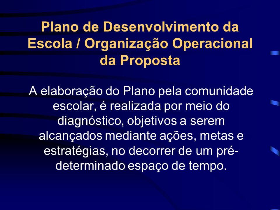 É o instrumento que, no processo participativo, operacionaliza a FUNÇÃO DA ESCOLA, num determinado período de tempo. O Plano de Desenvolvimento da Esc
