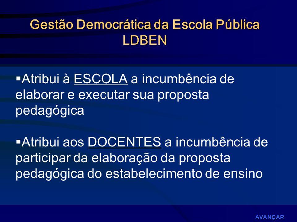 Instrumento de proposição elaborado no contexto de um processo PARTICIPATIVO em que se define, principalmente, a FUNÇÃO DA ESCOLA.