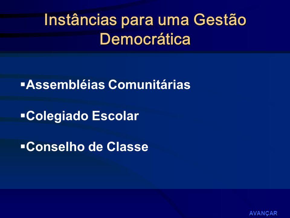 Instâncias para uma Gestão Democrática Assembléias Comunitárias Colegiado Escolar Conselho de Classe AVANÇAR