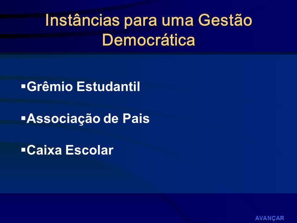 Grêmio Estudantil Associação de Pais Caixa Escolar AVANÇAR Instâncias para uma Gestão Democrática