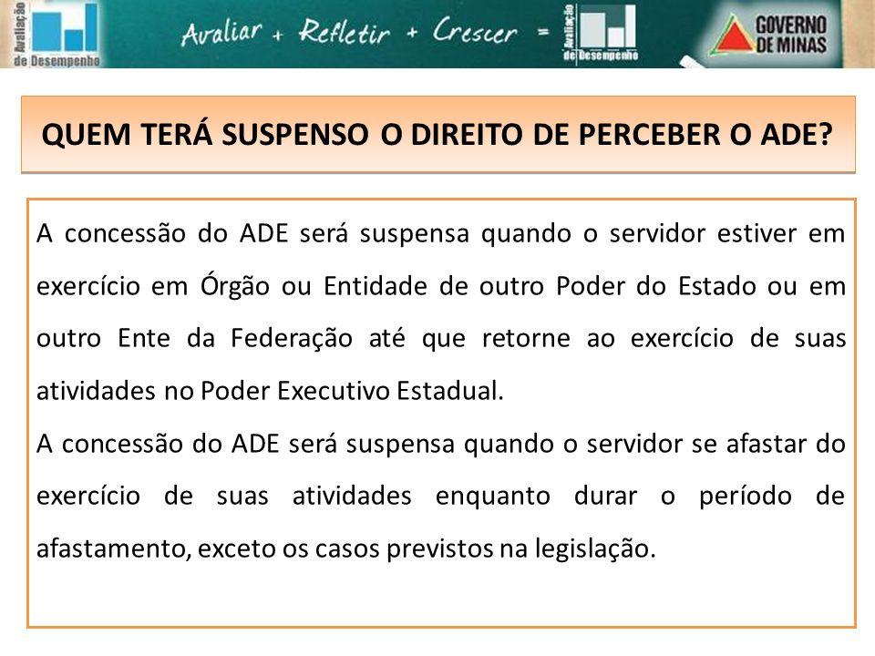 QUEM TERÁ SUSPENSO O DIREITO DE PERCEBER O ADE? A concessão do ADE será suspensa quando o servidor estiver em exercício em Órgão ou Entidade de outro