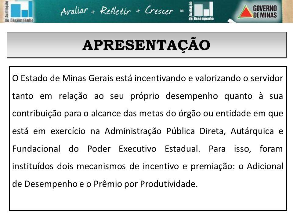 APRESENTAÇÃO O Estado de Minas Gerais está incentivando e valorizando o servidor tanto em relação ao seu próprio desempenho quanto à sua contribuição para o alcance das metas do órgão ou entidade em que está em exercício na Administração Pública Direta, Autárquica e Fundacional do Poder Executivo Estadual.