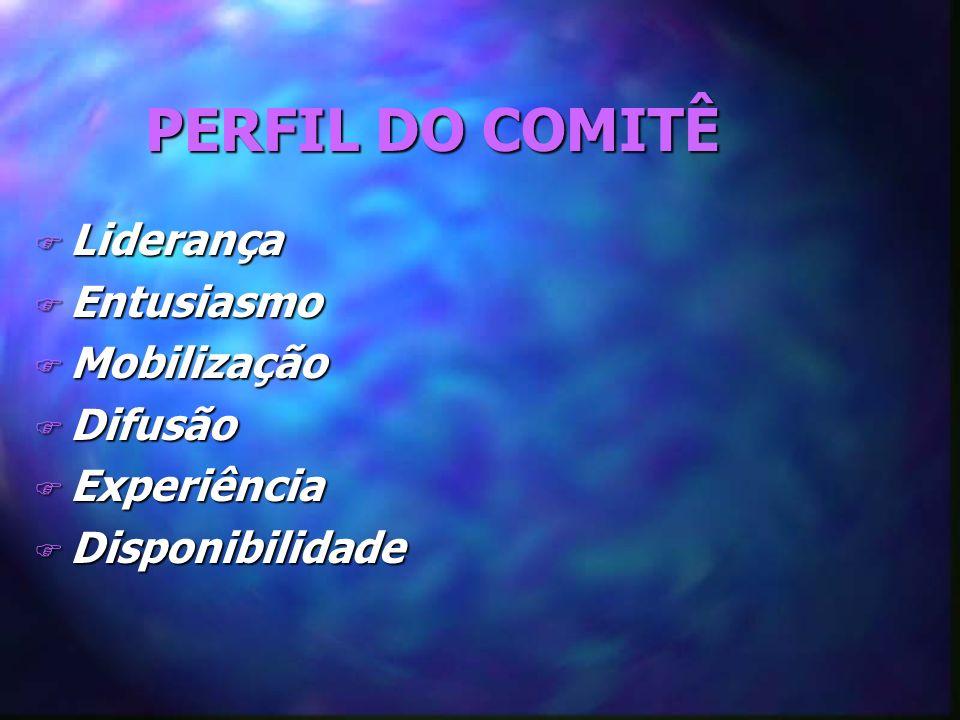 PERFIL DO COMITÊ F Liderança F Entusiasmo F Mobilização F Difusão F Experiência F Disponibilidade