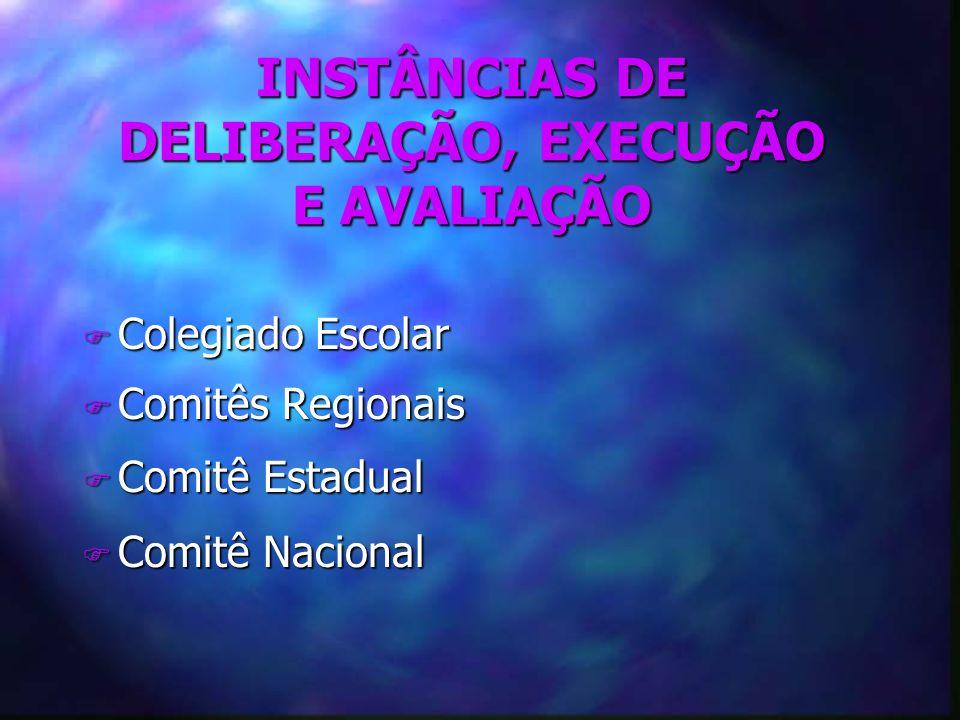 INSTÂNCIAS DE DELIBERAÇÃO, EXECUÇÃO E AVALIAÇÃO F Colegiado Escolar F Comitês Regionais F Comitê Estadual F Comitê Nacional