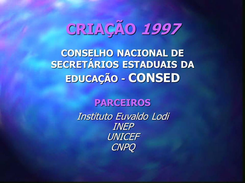 CRIAÇÃO 1997 CONSELHO NACIONAL DE SECRETÁRIOS ESTADUAIS DA EDUCAÇÃO - CONSED PARCEIROS Instituto Euvaldo Lodi INEPUNICEFCNPQ